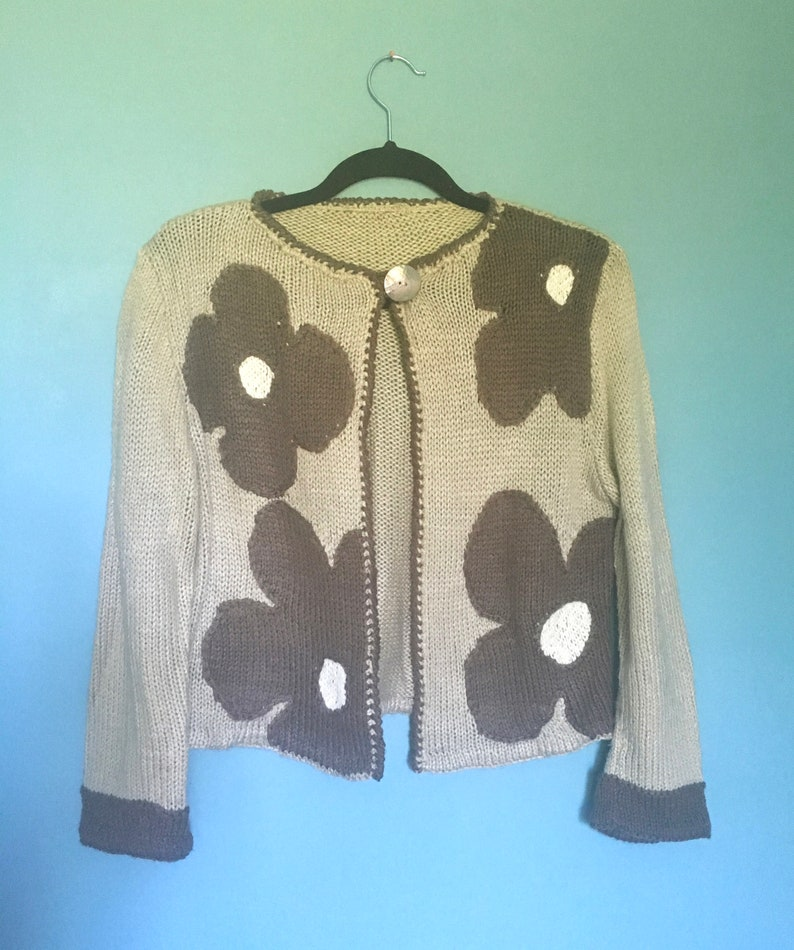 unique wool and acrylic cardigan vest flower powerthe grainesdamour  knitted handmade