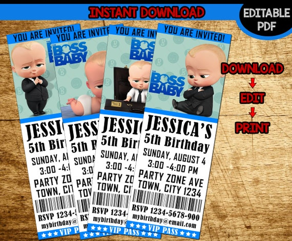 Boss Baby Invitation Birthday Party Instant Download PDF