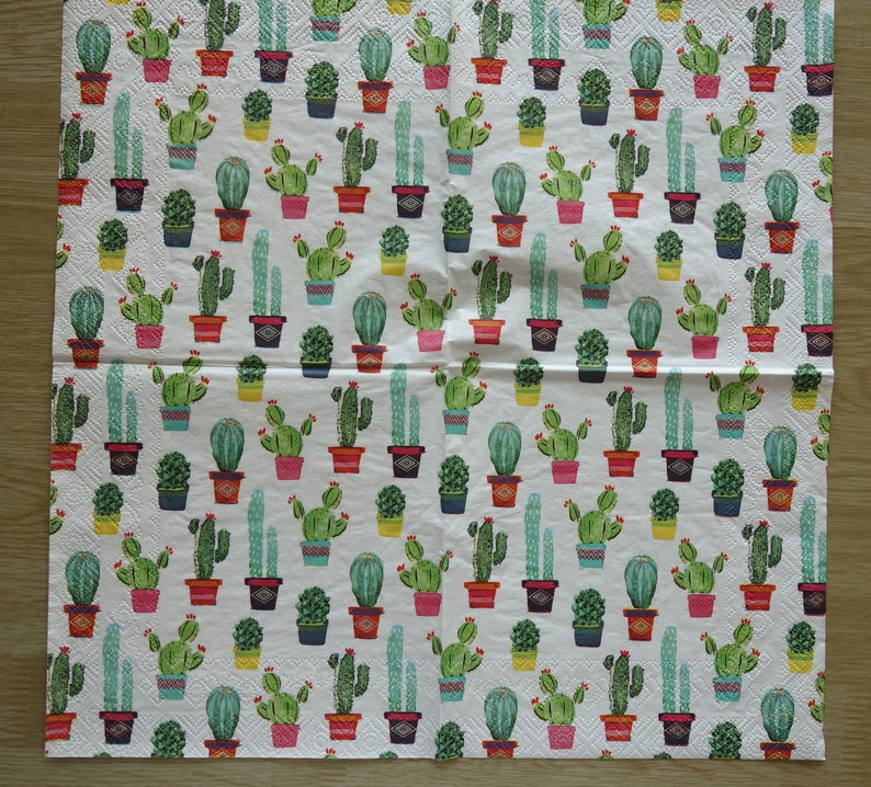 scrapbooking DIY small plants mini flowers 33x33 collage sold by 3 Cactus Patchwork paper towel