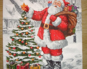 """Paper towel """"The Santa Claus II Tree"""", 33x33, sold by 3, collage, scrapbooking, DIY"""