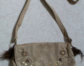 Shoulder bag beige with f...