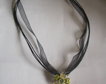 Green Flower pendant black cord necklace