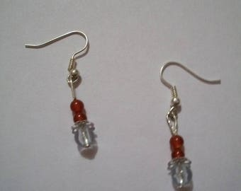Handmade red and clear earrings