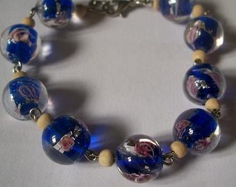 Bracelet Lampwork beads and wood beads