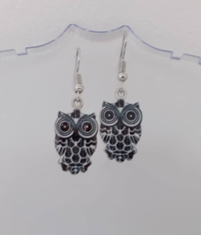 Earrings enamelled OWL pendants 4 COLORS silvered hook