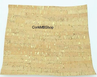 Cork 65*50cm cork fabric natural with golden Cork leather Vegan Leather Fabric