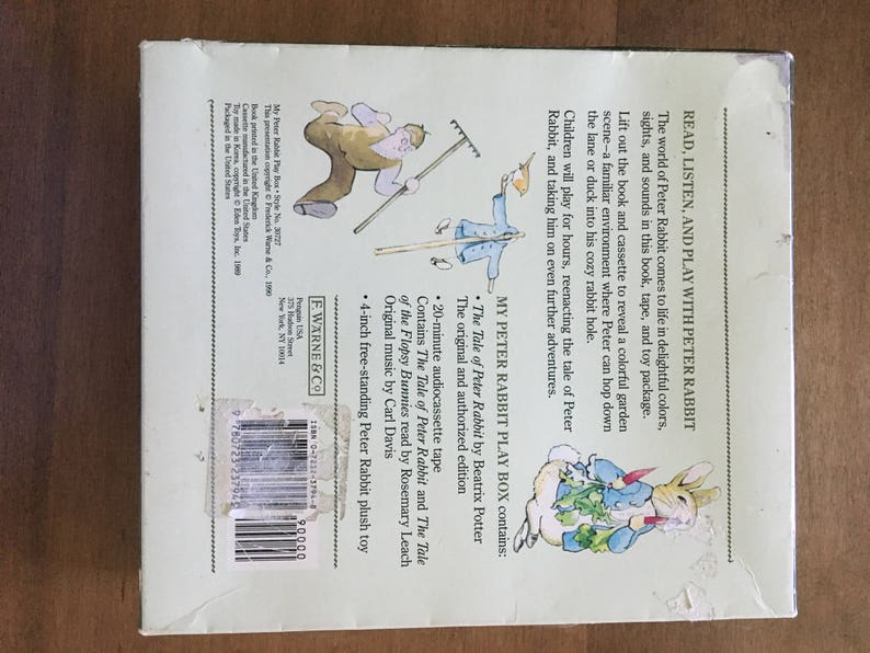 Vintage My Peter Rabbit Play Box/ Set with Book, toy Plush Rabbit, and  Cassette Tape Story Set for Children By, Beatrix Potter