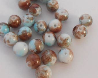 2 glass beads 10 mm shades of beige, white, Brown and blue. (241117)