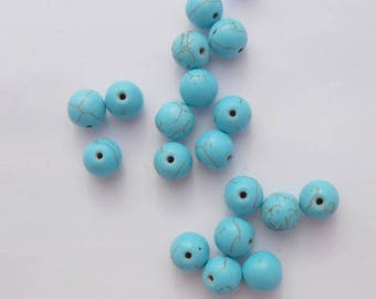 4 natural Howlite dyed Turquoise 10 mm beads. (9074471)