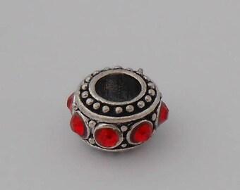 Bead spacer European Bracelet Charm 11mm red rhinestones