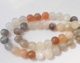 Set of 2 genuine Moonstone beads 8 mm. (PDL8mm)