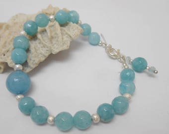 Aquamarine er 925 sterling silver beaded bracelet