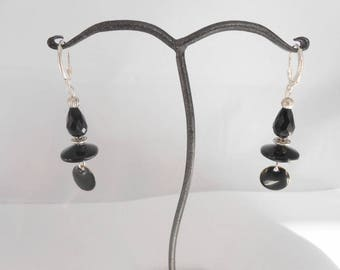 Onyx, Crystal and black enamel earrings. Silver hook 925