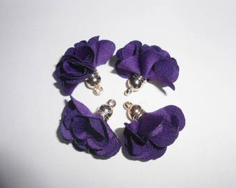Pendant flowers purple about 27 mm x 25 mm gold tassels. (970004)