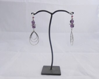 Violet glass Pearl Earrings 8 mm irregular round