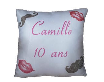 Birthday mustache sublimation printed Cushion cover