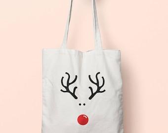 reindeer drawing christmas tote bag long handles tb0962