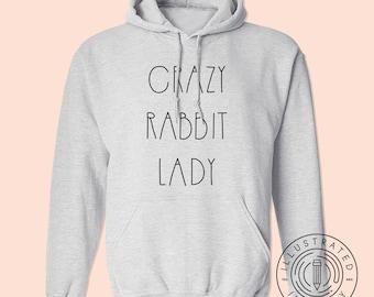 b60b0b74 Crazy Rabbit Lady unisex fit hoodie hooded sweatshirt K0584