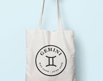 b7fee29955ca Gemini Zodiac Sign Stamp Tote Bag Long Handles TB1907