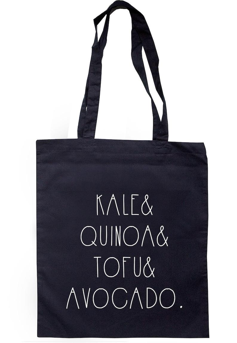 Kale Quinoa Tofu /& Avocado Tote Bag Long Handles K2311
