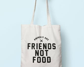Animals Are Friends Not Food Tote Bag Long Handles TB0227