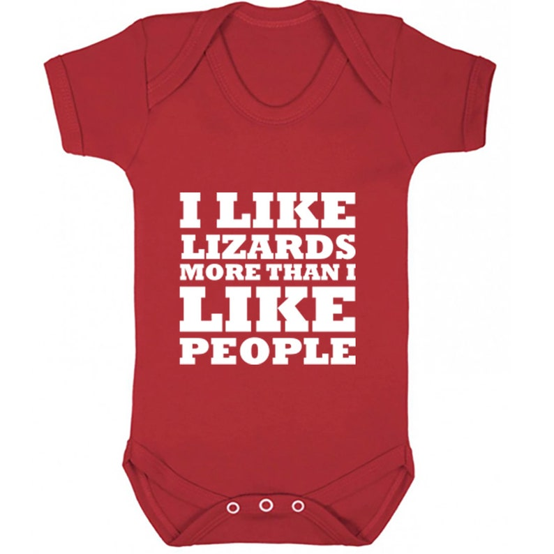 also available in matching adults and childrens sizes K0657 I Like Lizards More Than I Like People baby vest babygrow