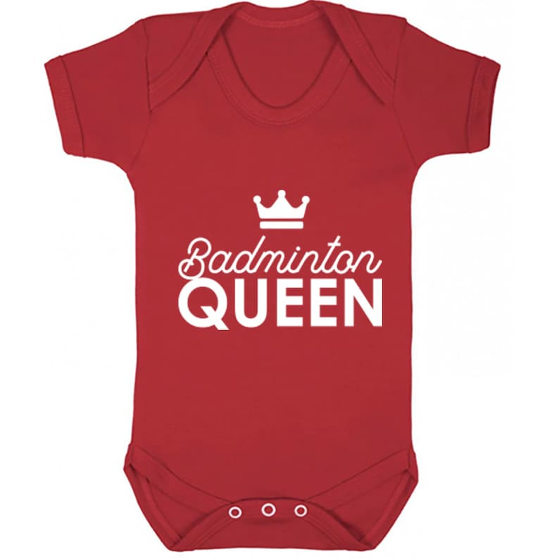 Badminton Queen unisex short sleeve baby vest babygrow K2234