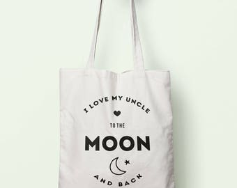 I Love My Uncle To The Moon And Back Tote Bag Long Handles TB0203