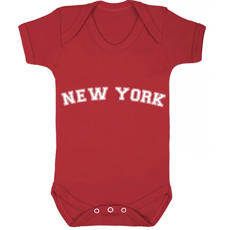 New York American Font unisex short sleeve baby vest babygrow K1129