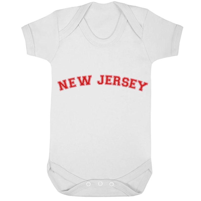 New Jersey American Font unisex short sleeve baby vest babygrow K1115