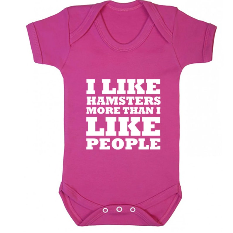 K0651 also available in matching adults and childrens sizes I Like Hamsters More Than I Like People baby vest babygrow