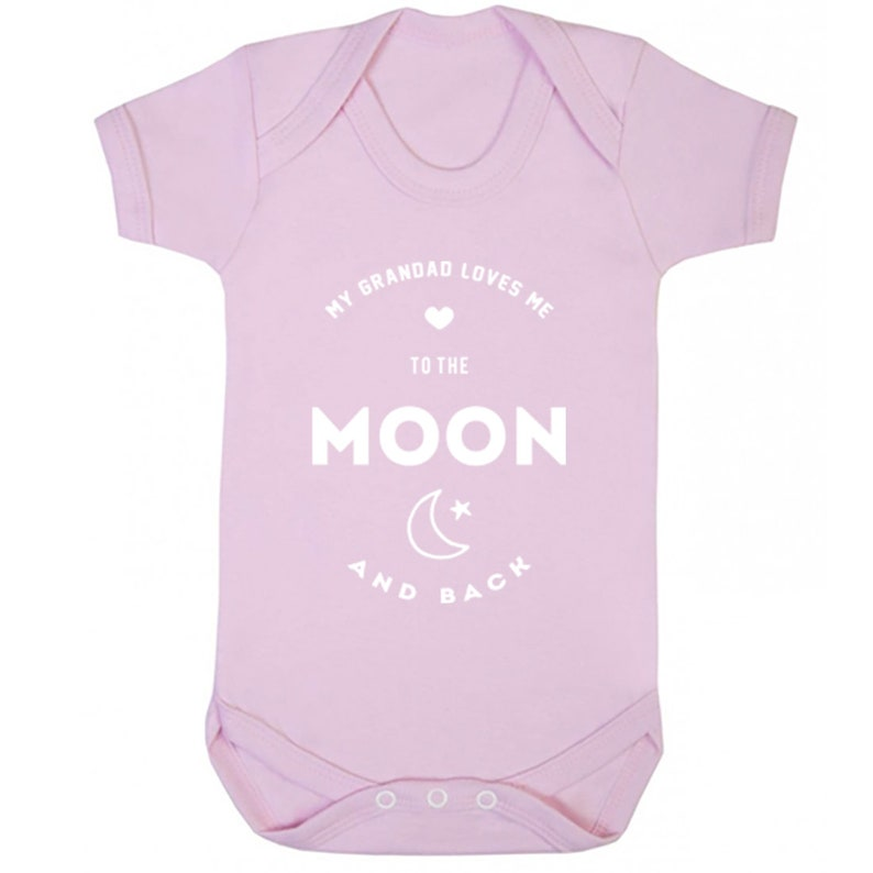 My Grandad Loves Me To The Moon And Back unisex short sleeve baby vest babygrow K1543