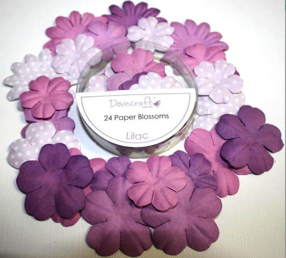 Lot 24 Color Lilac Purple Scrap Scrapbooking Paper Flowers Etsy