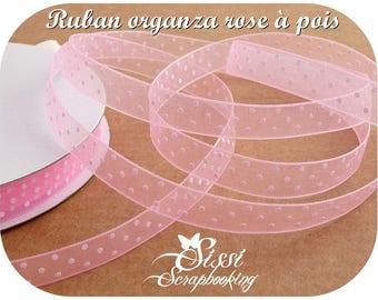 PINK ORGANZA RIBBON HAS PEA WHITE SCRAPBOOK SCRAP BEADS