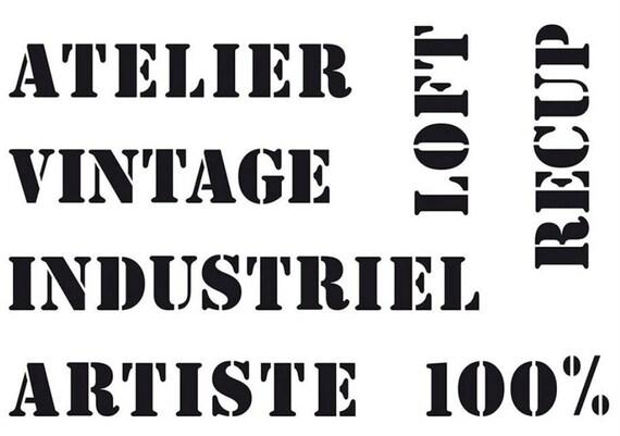 Pochoir Style Industriel pochoir vintage 297x42 cm artemio artiste loft atelier | etsy