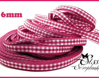 LOT 3 m Ribbon sewing gift sissi scrapbooking die 6mm Burgundy Red GINGHAM