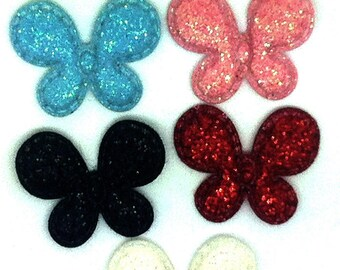 lot 7 sequined Butterfly applique GLITTER shiny sewing scrapbooking 22 x 20 mm