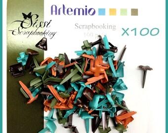 Ties Parisian square round flower - 5 mm - screw x 100 ARTEMIO KHAKI blue ORANGE Brown STREET COLLECTION