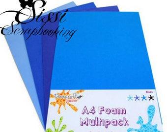 MAXI SET 8 SHEETS A4 FOAM FOAM 4 SHADES OF BLUE SHADES SCRAPBOOKING ART PLASTIC FIVE SISSI SCRAPBOOKING