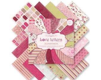 Pink set 16 paper flowers ALPHABET SCRAPBOOKING CARDSTOCK 20x20cm