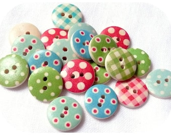 MIXED LOT 10 BUTTONS ROUND MULTICOLORED SEWING SCRAP WOOD