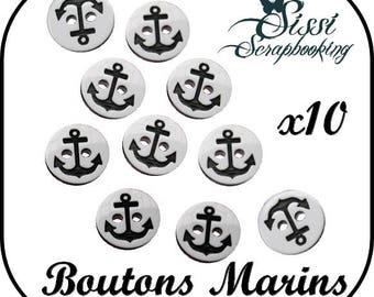 Set of 10 black white Navy anchor button sailor couture fashion 12mm