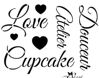 Stencil text Sweet for Home Deco - A3 (29.7 x 42 cm) SWEET COLLECTION