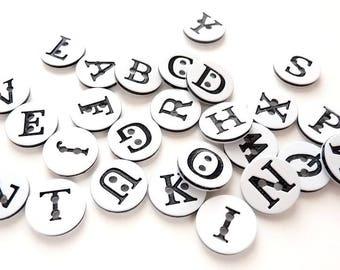 WHOLESALE LOT buttons 26 letter ALPHABET SCRAPBOOKING sewing 12.5 mm white black