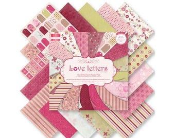 Pink set 16 paper flowers ALPHABET SCRAPBOOKING CARDSTOCK 15x15cm