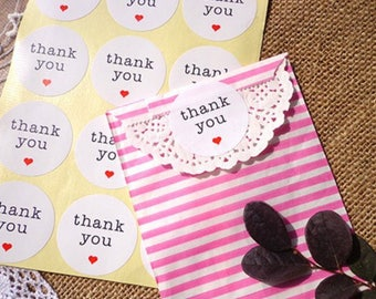 Lot 60 labels self-adhesive kraft made handmade THANK YOU thank you for WATERPROOF + heart red 35 mm