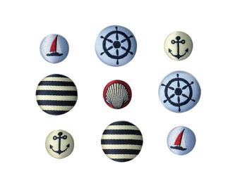 SET OF 9 BEAUTIFUL EMBROIDERED BLUE WHITE SAILOR BOAT ANCHOR BUTTON NAVY STRIPED SAILOR SCRAPBOOKING EMBROIDERY SEWING