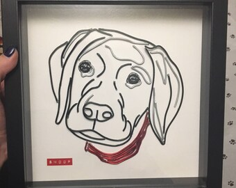 Bespoke Wire Pet Portrait Monotone