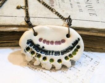 Necklace tribal boho chic - ceramic jewelry