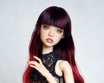 Long gradient wig for BJD Popovy Sisters Dolls angora goat fiber